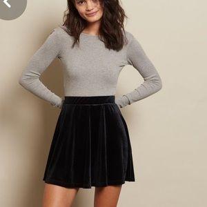 Garage Panelled Velvet Skater Skirt - Black XS NWT